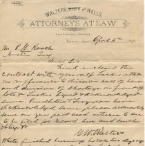 Image of Letter from G.W. Walters to P.G. Roach, recto