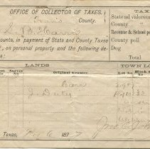 Image of Tax receipt for S.B. Harris, recto