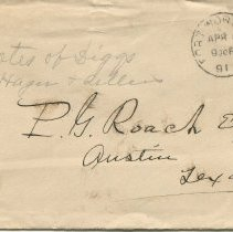 Image of Envelope addressed to P.G. Roach, Esq., front