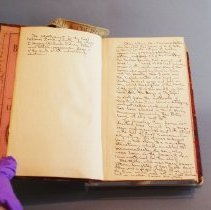 Image of Flyleaf & first page with writing by first curator, Maud E. Moody