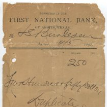 Image of Deposit slip signed by William Sydney Porter (O. Henry)