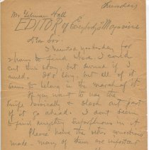 Image of Letter from O. Henry to Gilman Hall, recto