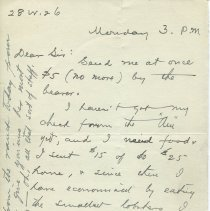Image of Letter from O. Henry to Gilman Hall; page 1 recto