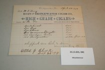 Image of Bridgewater Cigar CO. receipt, 1894 - 03.13.002