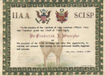 Image of Dr. Frederick J. Wampler 67th Birthday Certificate from the Institute of Inter American Affairs' Peruvian Service, January 7, 1950 - 13.10.001