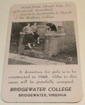 Image of Bridgewater College (Bridgewater, Va.) advertising calendar card, 1948 - 96.1.001