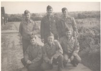 Image of 14.11.01, Spitler (standing, far right) with war buddies, Yeovil, England