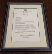 Image of Letter of congratulations to Coach Mike Clark from Virginia Governor, James S. Gilmore, III, December 17, 2001 - 14.20.001