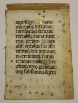 Image of 12th cent. French manuscript fragment, likely a prayer of confession - 54.1.1252b