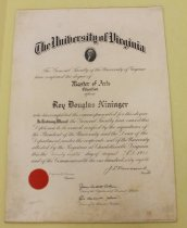 Image of Roy Douglas Nininger University of Virginia Master of Arts in Education diploma, August 28, 1943 - 16.07.001