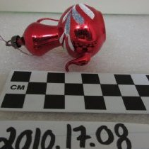 Image of Red with white detail Christmas ornament
