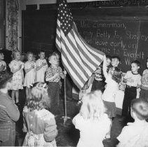 Image of Pledging Allegiance at Everett Elementary School, 1957