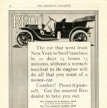 "Image of REO ""The car that went..."" ad, American Magazine, 1911, Coll. No. 345"