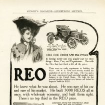 "Image of ""The REO Runabout, 8 H.P., 900 lbs."" ad, 1905, Coll. No. 259"