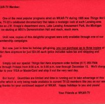 Michigan State University WKAR-TV postcard advertisment