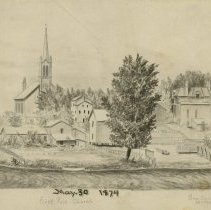 Image of First Presbyterian Church and Ben Buck House, May 30, 1874