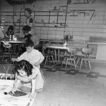 Image of Moores Park Elementary School, Kindergarteners Painting, February 1961