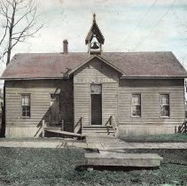 Image of Mill Street School, later Plymouth Congregational Church, about 1892