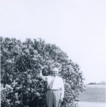 Image of Fred Nitcher with Lilac Bush