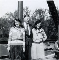 Image of Mead Sisters with Man on Bridge - 2010-06-001.008.273