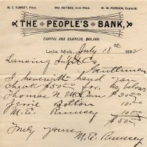 Image of Letterhead from The People's Bank, Leslie - 2014-11-001.LLH002