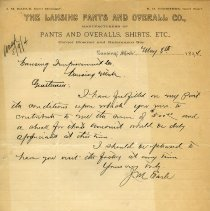 Image of Lansing Pants and Overall Co. Letterhead - 2014-11-001.LLH014