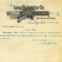 Image of Lansing Lumber Co. Letterhead