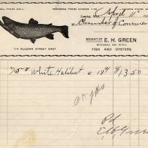 Image of E. H. Green Wholesale and Retail Fish and Oysters Letterhead