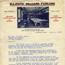Image of Majestic Billiard Parlors Letterhead