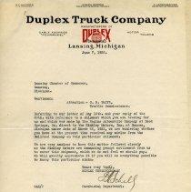 Image of Duplex Truck Company Letterhead