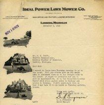 Image of Ideal Power Lawn Mower Co. Letterhead