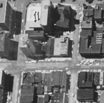 Image of Aerial View of Three Blocks on Michigan and Washington Avenues in Downtown Lansing.  - 2015-06-003.V1.009