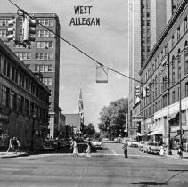 Image of West Allegan Street, looking west from South Washington Avenue.  - 2015-06-003.V1.031