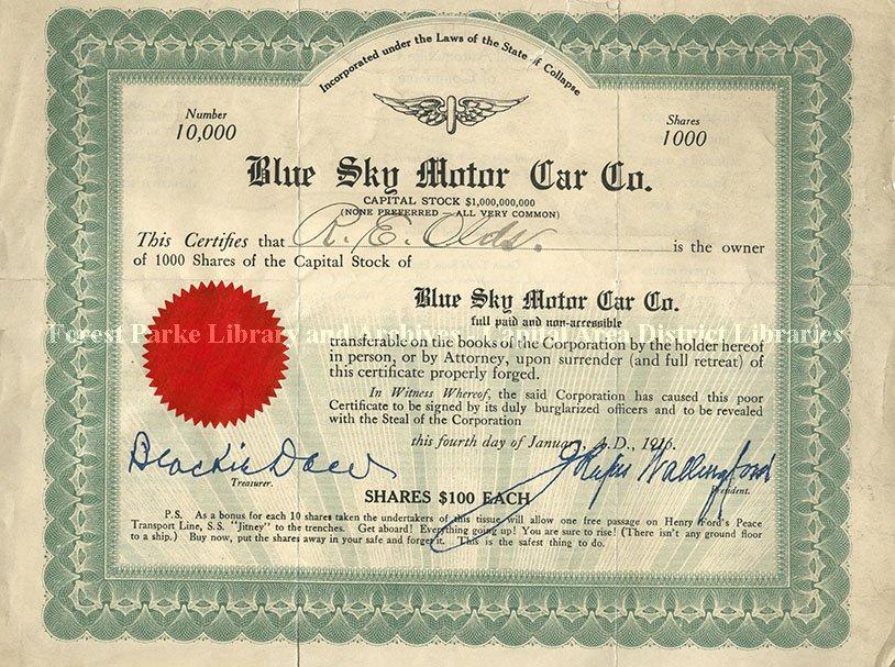 Stock Certificate: Blue Sky Motor Car Co. (Joke) - 2007-12-001.121