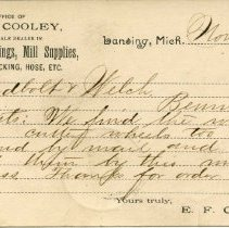 Image of Office of E. F. Cooley, Wholesale Dealer in Gas Pipe, Fittings, Mill Supplies, Belting, Packing, Hose, Etc.  - 2015-01-001.V03.036