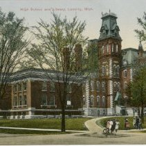 Image of High School and Library, Lansing, Mich. Posted by Perry Barker Candy Co.  - 2015-01-001.V04.160