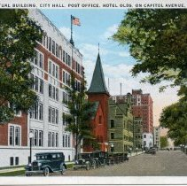 Image of Mutual Building, City Hall, Post Office, Hotel Olds, On Captiol Avenue, Lansing, Michigan - 2015-01-001.V17.005