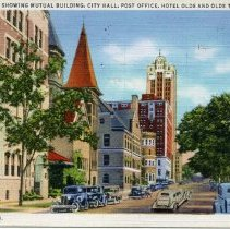 Image of Capitol Avenue Showing Mutual Building, City Hall, Post Office, Hotel Olds, And Olds Tower Building, Lansing, Michigan - 2015-01-001.V17.006