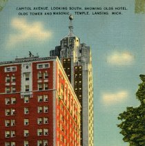 Image of Capitol Avenue Looking South, Showing Olds Hotel, Olds Tower, And Masonic Temple, Lansing, Michigan - 2015-01-001.V17.007a