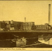 Image of Michigan Ave. Bridge and Power Plant, Lansing, Michigan - 2015-01-001.V18.116