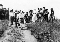 Image of Women hiking in dresses, date unknown - Print, Photographic