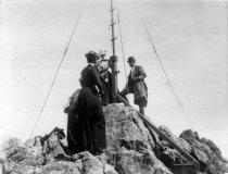 Image of Man and women at Marine Exchange Observatory on Mt. Tamalpais, circa 1900 - Print, Photographic