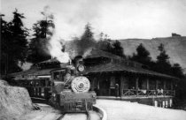 Image of Train going by Muir Woods Inn, circa 1919 - Print, Photographic