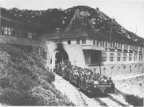 Image of Visitors departing the Tavern of Tamalpais in a gravity car, 1916  - Print, Photographic
