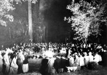 Image of Sierra Club High Trip reunion in Muir Wods, circa 1925