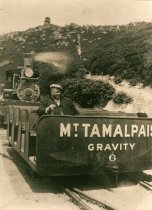 Image of Gravity car at the summit of Mt. Tamalpais, circa 1909