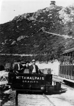 Image of Men in gravity car on Mt. Tamalpais, circa 1905 - Print, Photographic