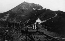 Image of Woman on flat car on Mt. Tam & Muir Woods Railway, circa 1900-1920. - Print, Photographic