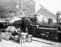 Image of Chevrolet pickup drives up railroad grade to Mt. Tamalpais summit, 1923 - Print, Photographic