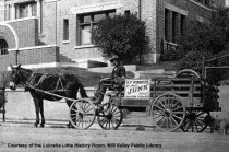 Image of Horse drawn junk wagon in Carnegie Library, date unknown